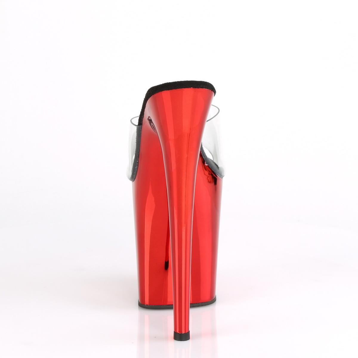 Pleaser(プリーザー) FLAMINGO-801 フラミンゴ 厚底サンダル 20�ヒール 10cmプラットフォーム クリア/レッドクローム◆取り寄せ