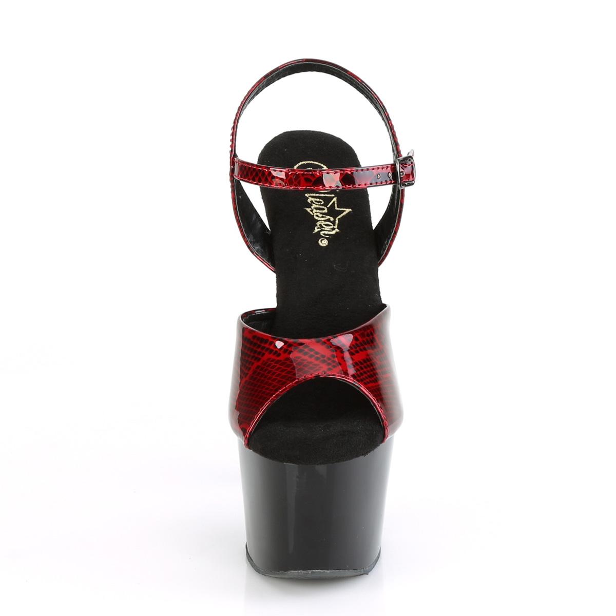 Pleaser(プリーザー) ADORE-709SP スネークスキンプリント アンクルストラップサンダル ヘビ柄 レッド 赤◆取り寄せ