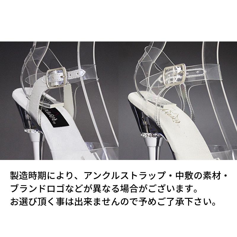 Pleaser(プリーザー) サンダル ミュール クリアソール アンクルストラップ付き メタルライクなハイヒール ALLURE-608-CLR-CLR