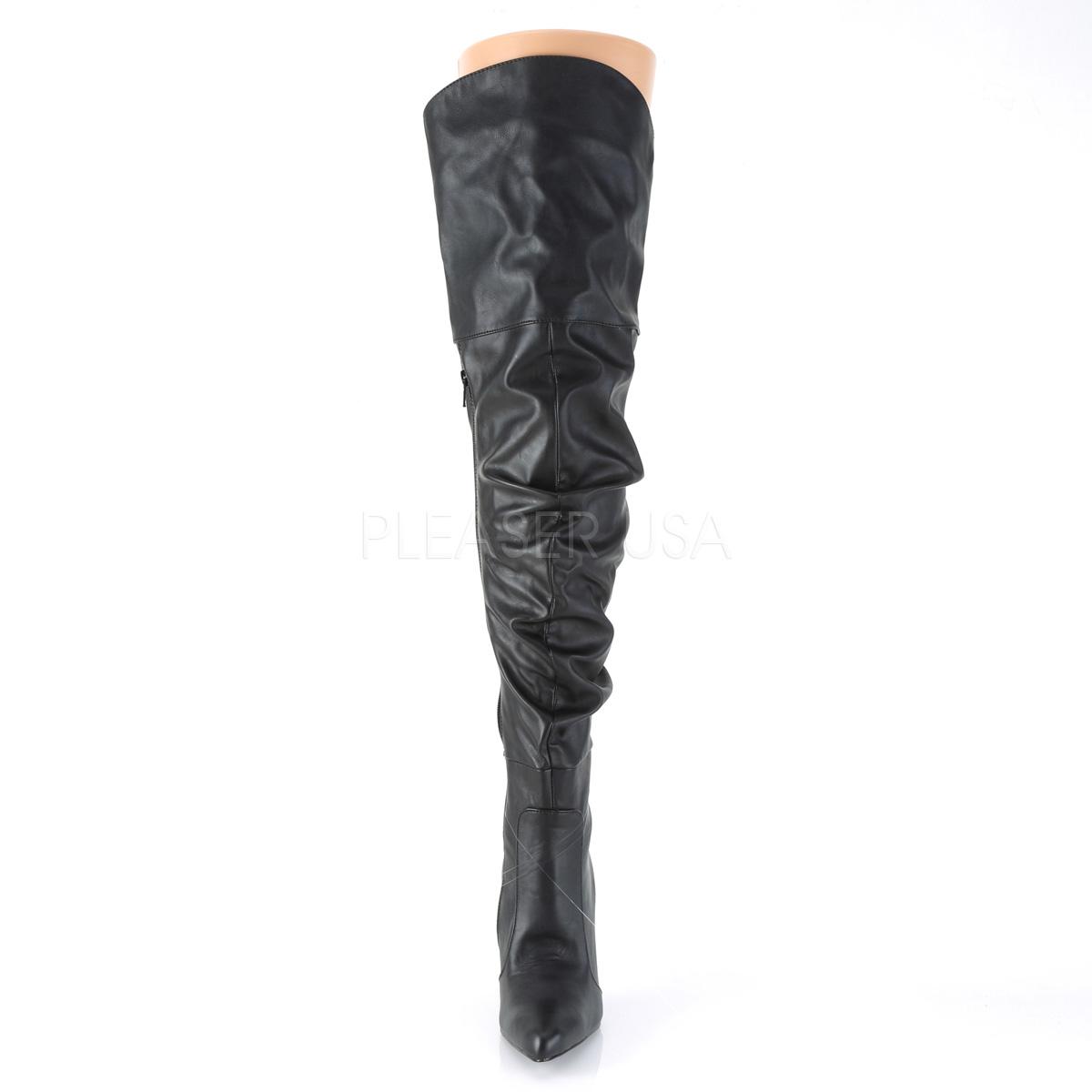 Pleaser CLASSIQUE-3011サイハイブーツ くしゅくしゅブーツ ひざ上 プリーザー つや消し黒◆取り寄せ