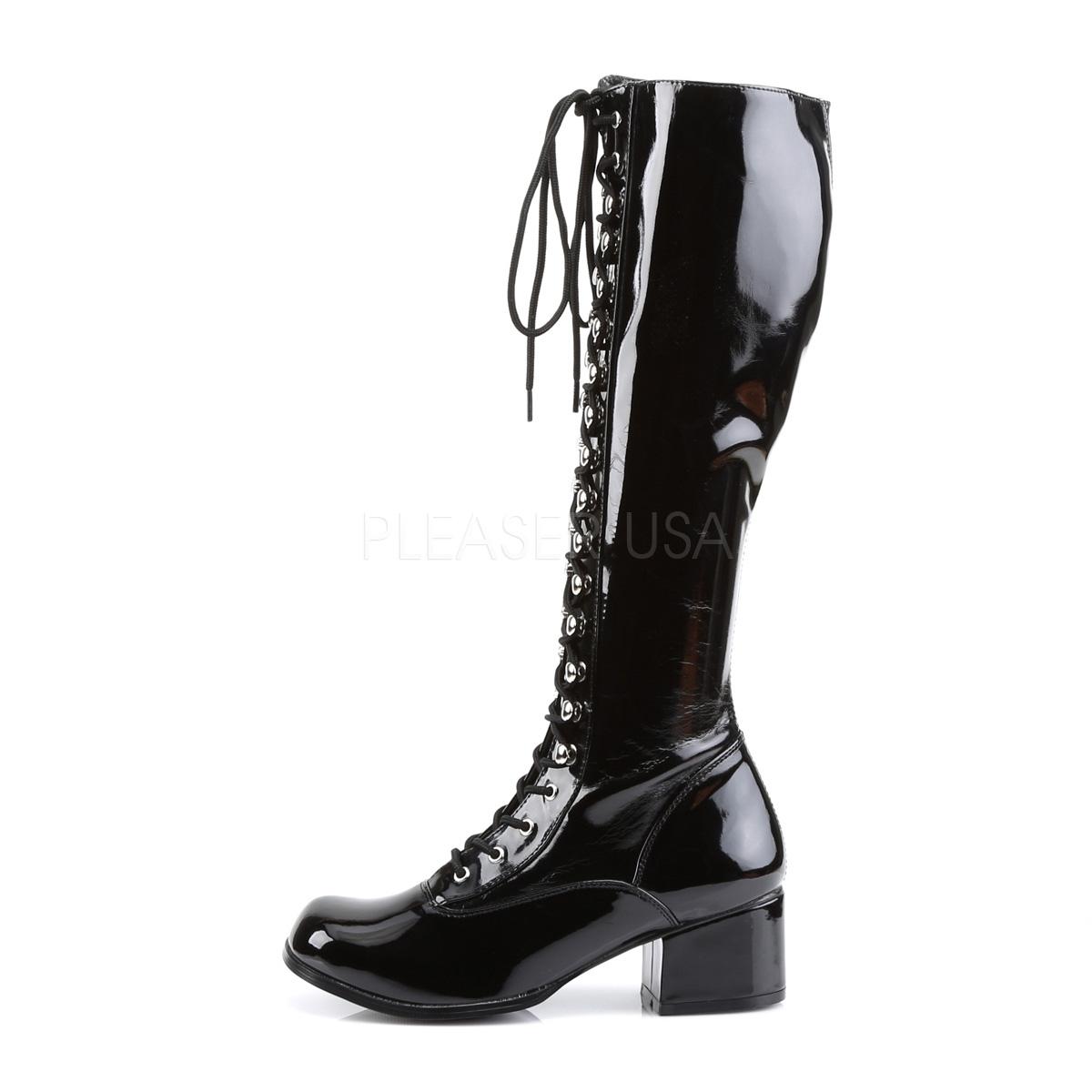 Funtasma(Pleaser) RETRO-302 レースアップ(編み上げ)/サイドジップ ニーハイブーツ エナメル黒 ひざ下丈ブーツ 約5cmブロックヒール◆取り寄せ