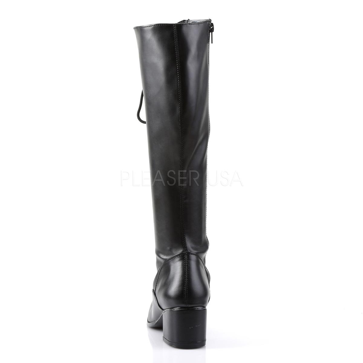 Funtasma(Pleaser) RETRO-302 レースアップ(編み上げ)/サイドジップ ニーハイブーツ つや消し黒 ひざ下丈ブーツ 約5cmブロックヒール◆取り寄せ