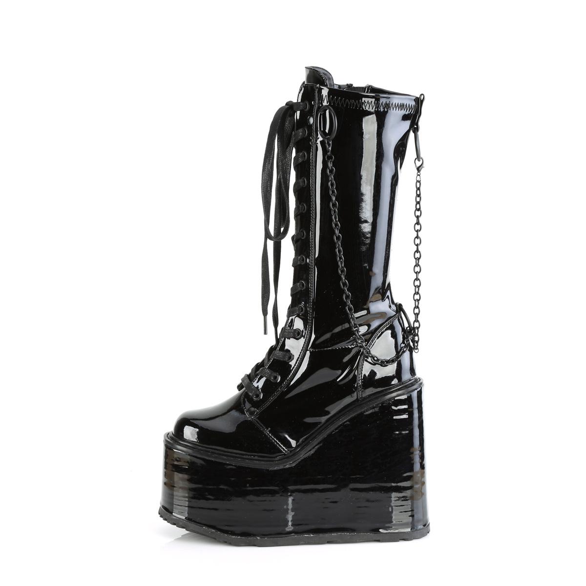 Demonia(デモニア) SWING-150 厚底ミドルブーツ チェーン飾り サイドZIP エナメル黒◆取り寄せ