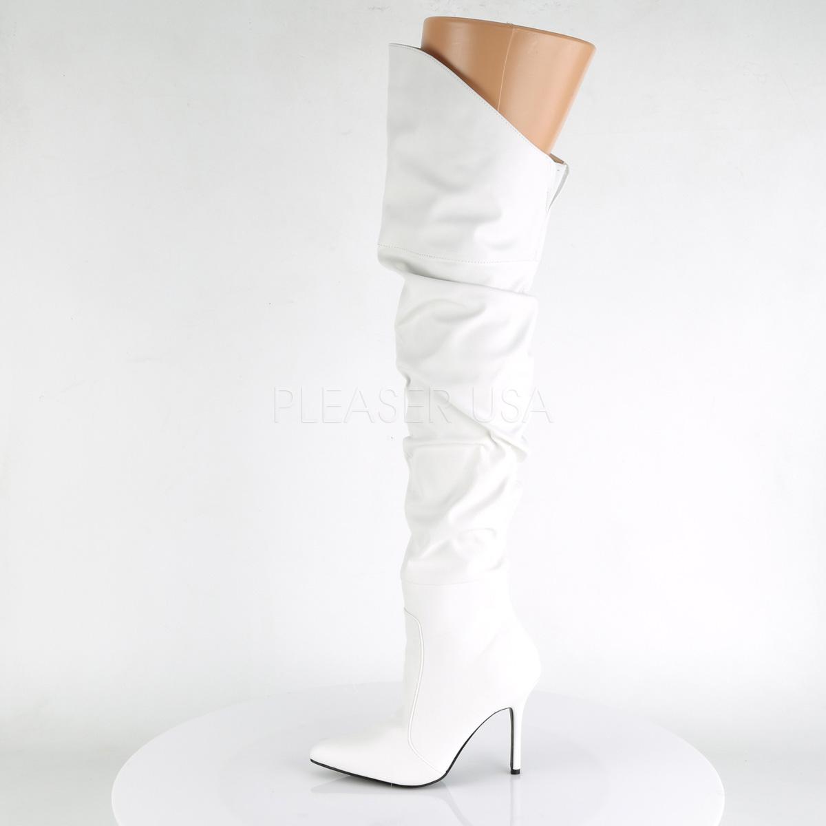 Pleaser CLASSIQUE-3011サイハイブーツ くしゅくしゅブーツ ひざ上 プリーザー 白 ホワイト◆取り寄せ