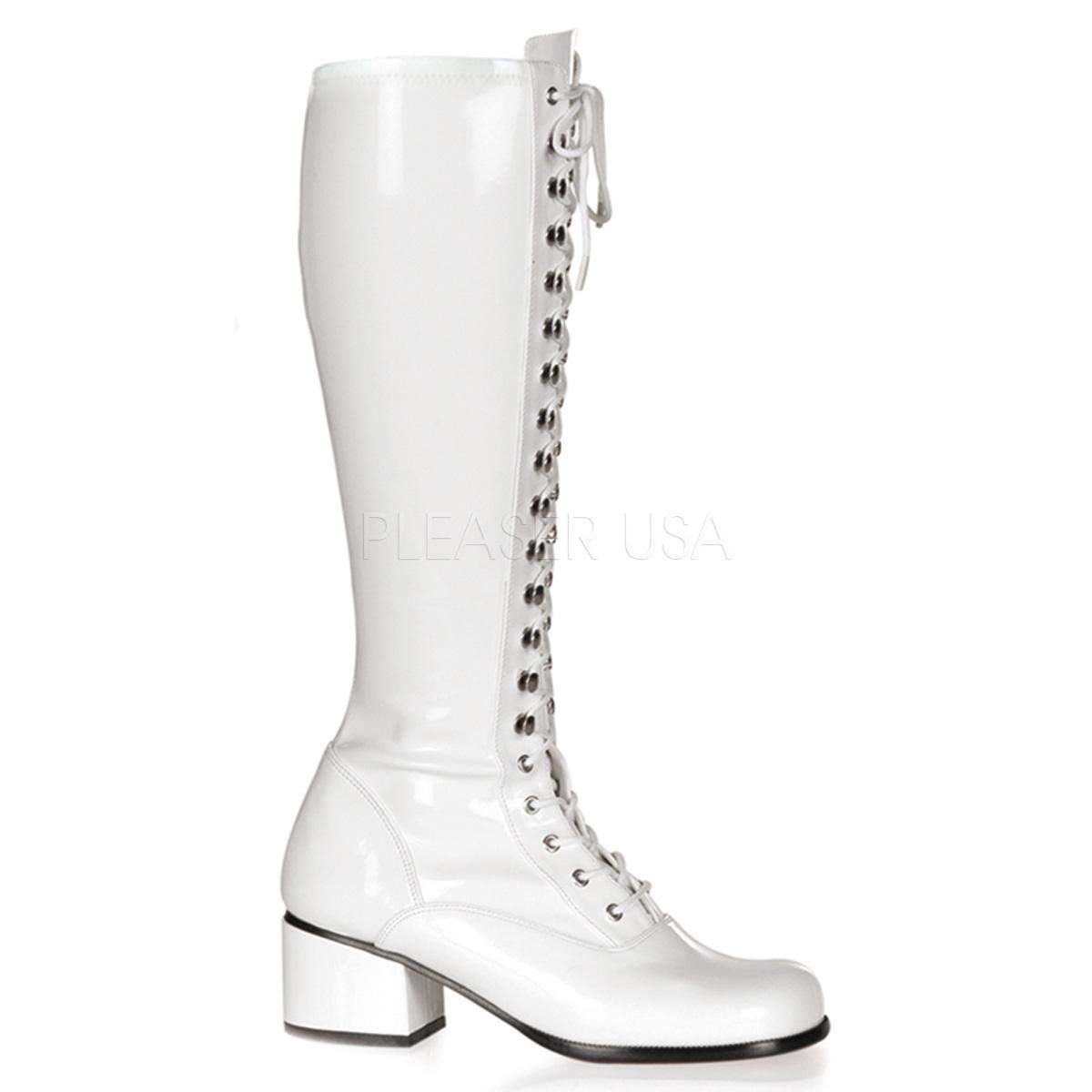 Funtasma(Pleaser) RETRO-302 レースアップ(編み上げ)/サイドジップ ニーハイブーツ エナメル白 ひざ下丈ブーツ 約5cmブロックヒール◆取り寄せ