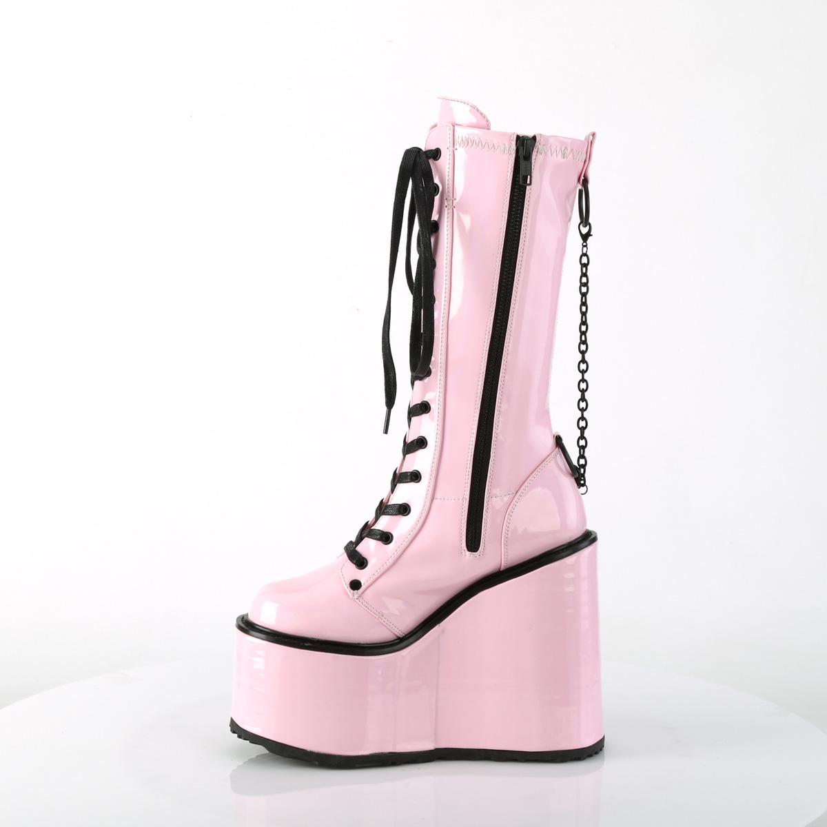 Demonia(デモニア) SWING-150 厚底ミドルブーツ チェーン飾り サイドZIP ベビーピンクホログラム◆取り寄せ