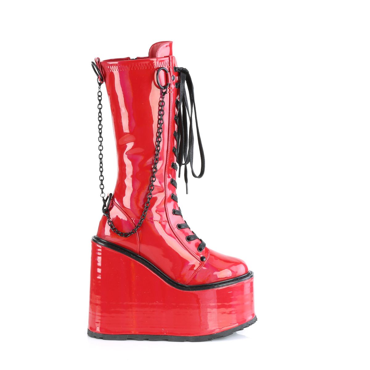 Demonia(デモニア) SWING-150 厚底ミドルブーツ チェーン飾り サイドZIP エナメル赤◆取り寄せ