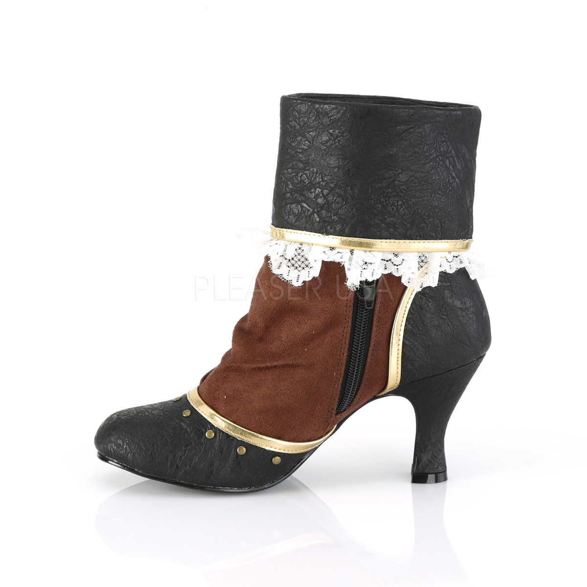 Funtasma MATEY-115 3inch Heel Round Toe Cuffed Ankle Bootie, 2/3 Side Zip◆取り寄せ