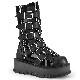 Demonia(デモニア) SLACKER-160 5バックルストラップ ミッドカーフブーツ サイドジップ エナメル黒/合皮黒◆取り寄せ