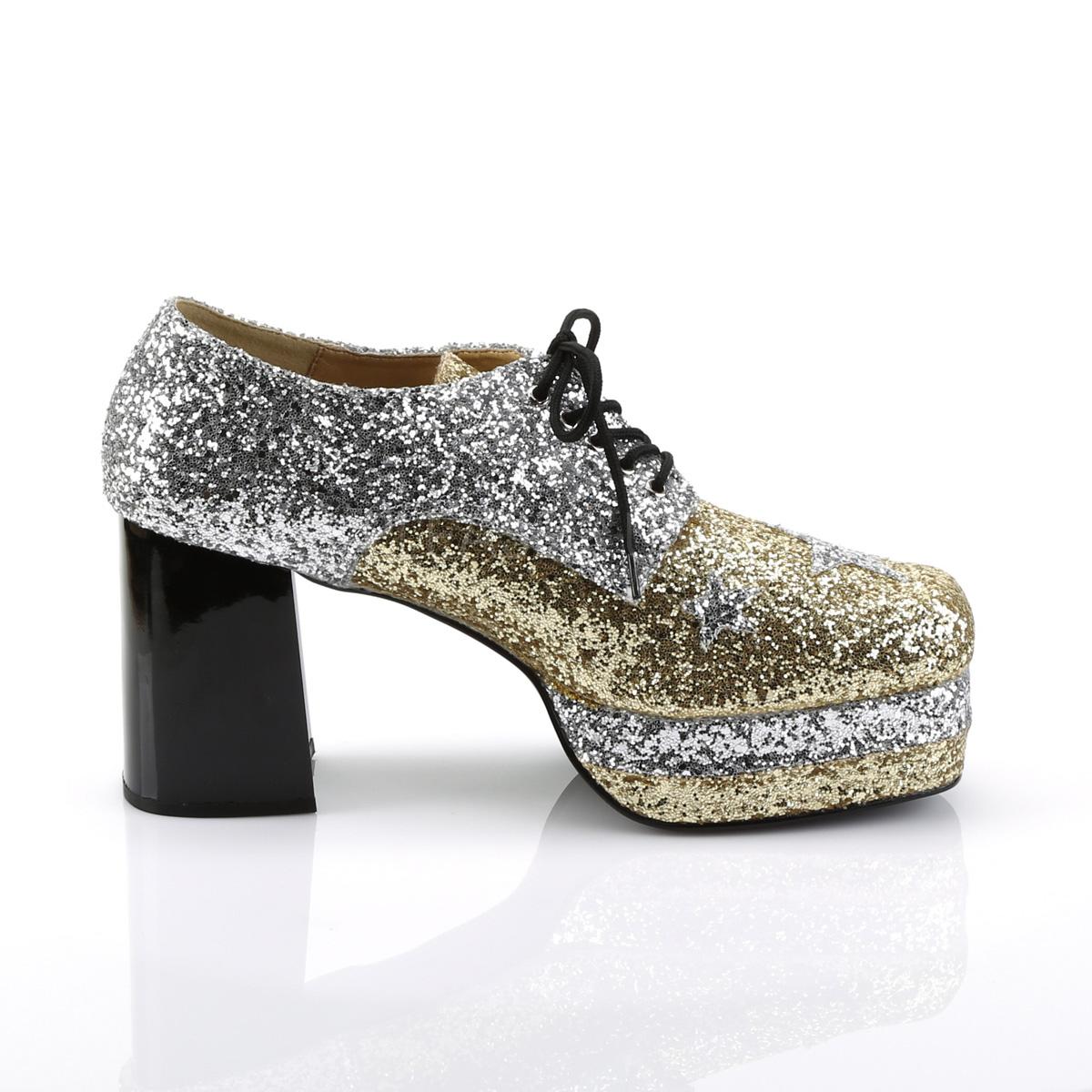 Funtasma GLAMROCK-02 3 1/2inch Heel, 1 1/2inch Stacked PF, Lace Up Black Glitter Oxford #Men's ◆取り寄せ