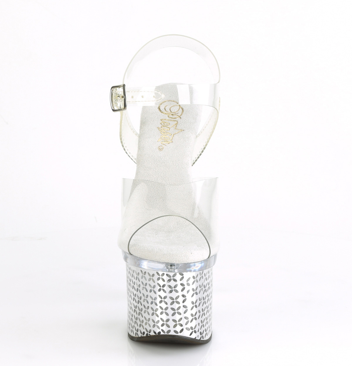 Pleaser(プリーザー) DISCOLITE-708FLP LEDイルミネーション厚底サンダル USB充電 クリア/シルバークローム(花柄)◆取り寄せ
