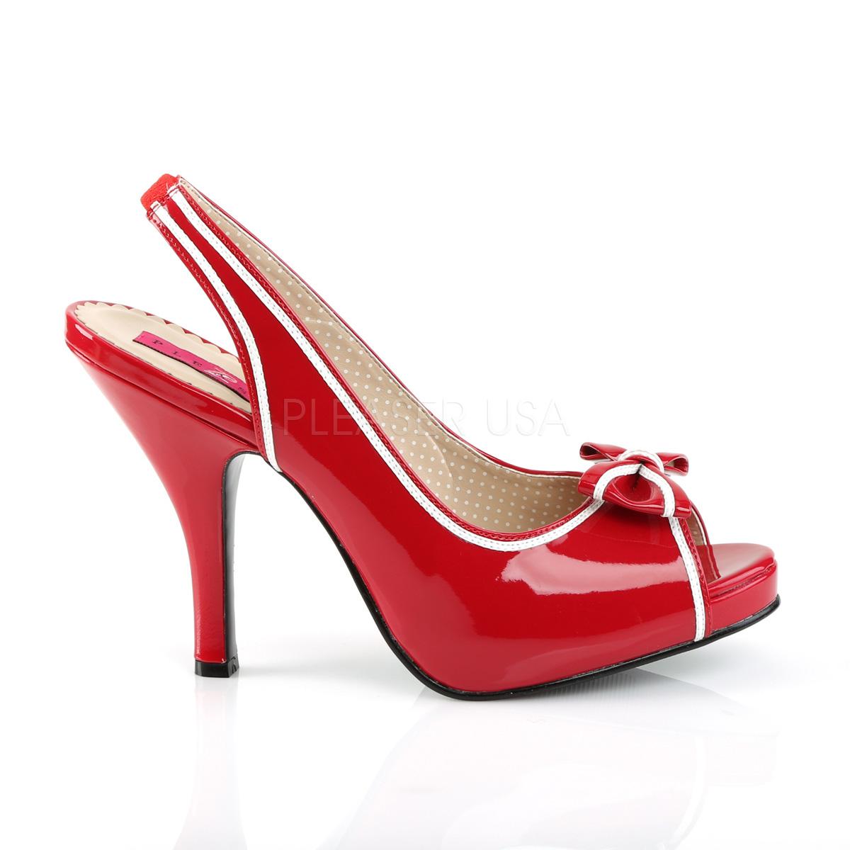 Pleaser Pink Label PINUP-10 4 1/2inch Heel, 3/4inch Hidden P/F Peep Toe Slingback Sandal W/Bow◆取り寄せ