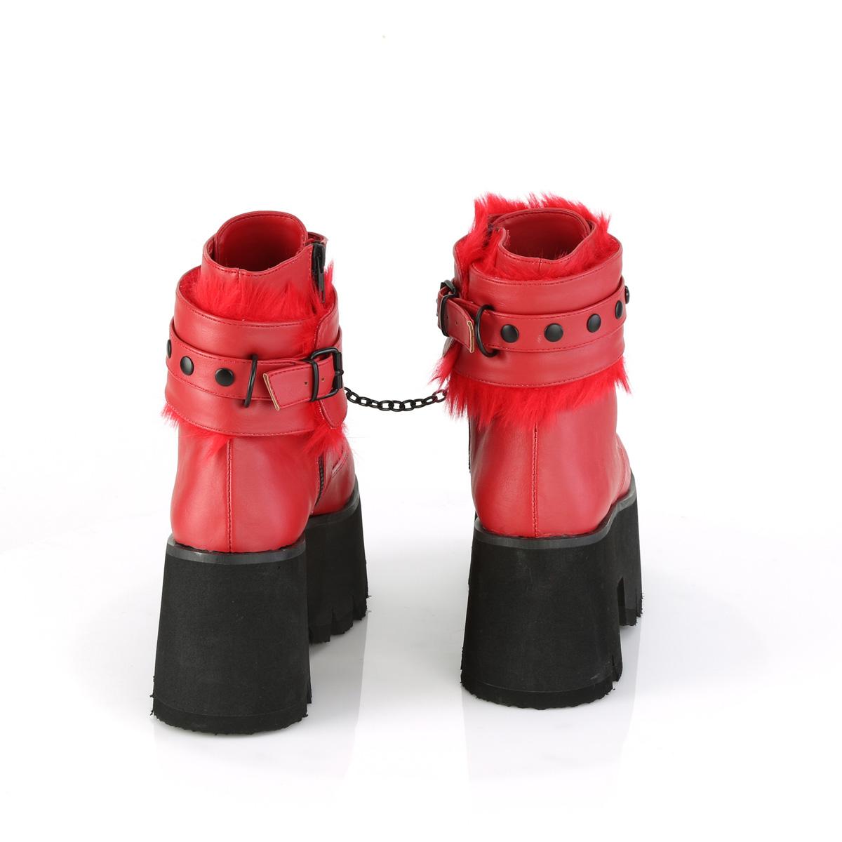Demonia(デモニア) ASHES-57 ファー付きアンクルカフ(取外し可能) 厚底ショートブーツ ハートアイレット チェーン レッド 赤◆取り寄せ