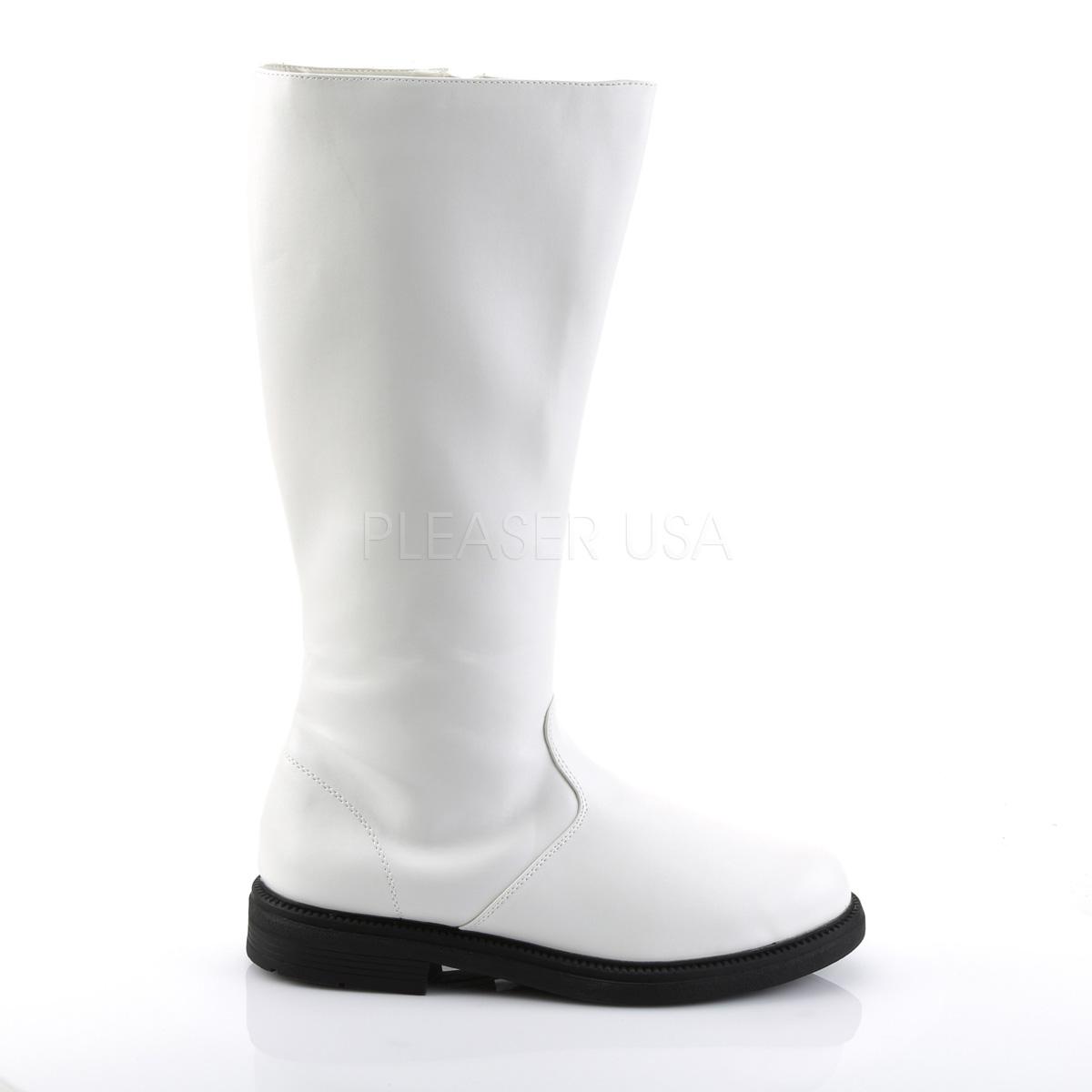 ブーツ メンズ ローヒール Pleaser(プリーザー) FUNTASMA #Men's 靴 男性用 ニーハイブーツ ひざ下丈ロングブーツ 白 ホワイト CAPTAIN-100