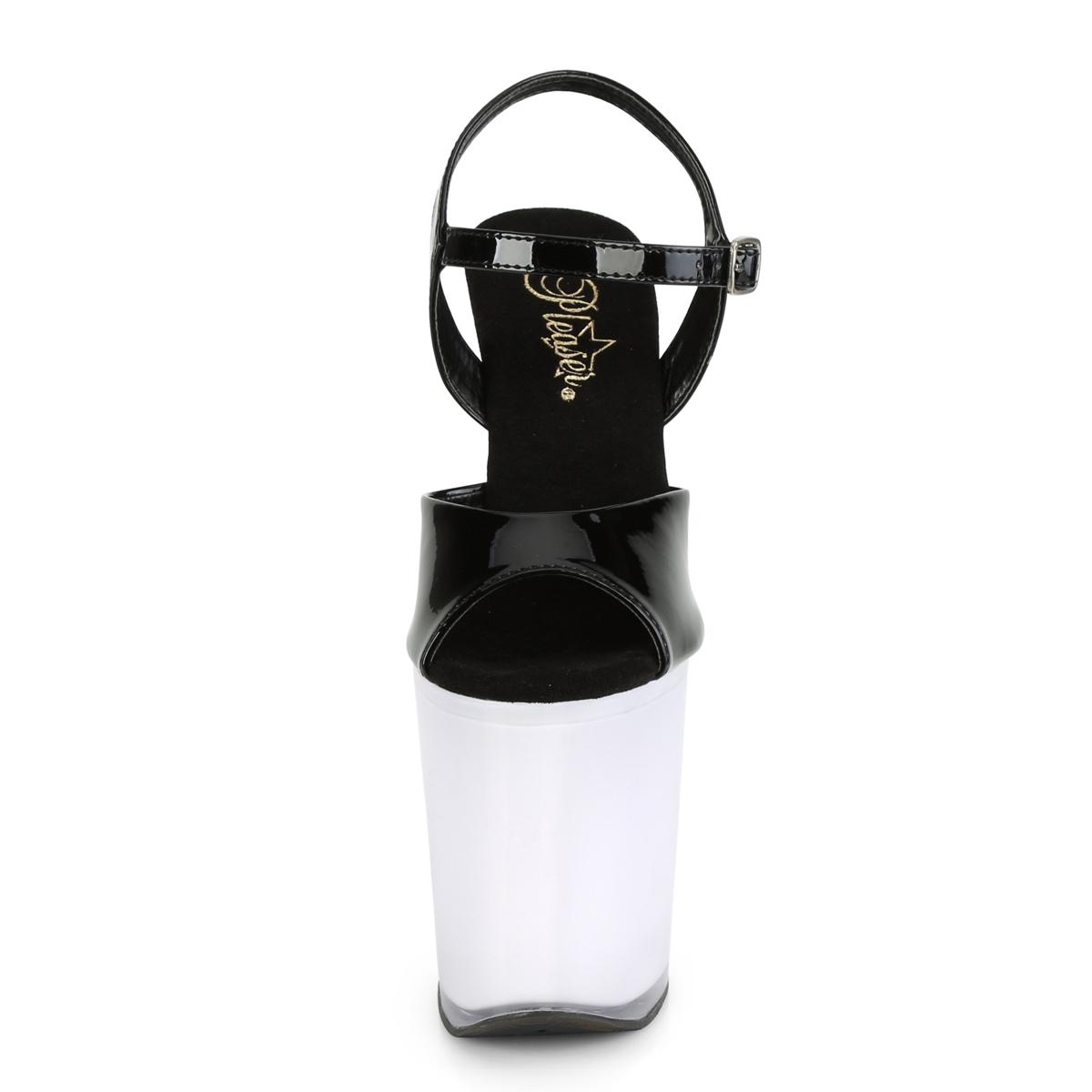 Pleaser(プリーザー) DISCOLITE-809 LEDイルミネーション厚底サンダル USB充電 エナメル黒/ホワイトグロウ◆取り寄せ