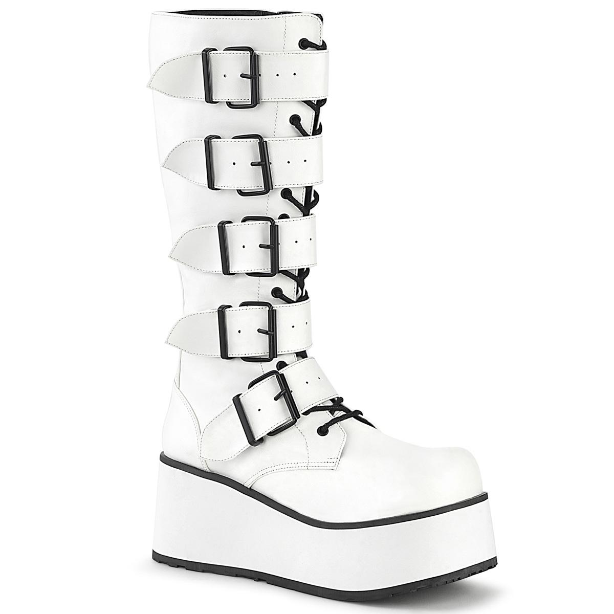 Demonia(デモニア) TRASHVILLE-518 バックルストラップレースアップニーハイブーツ 厚底ブーツ サイドZIP つや消し白 #Men's/Unisex◆取り寄せ