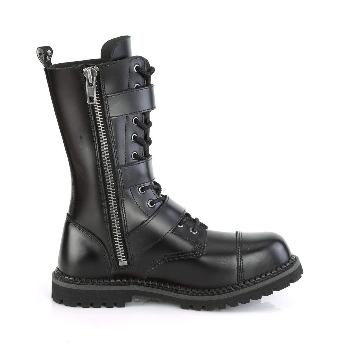 Demonia(デモニア) RIOT-12BK スティールトゥ バックルストラップ&編み上げブーツ 12アイレット コンバットブーツ 本革黒 #Men's/Unisex◆取り寄せ