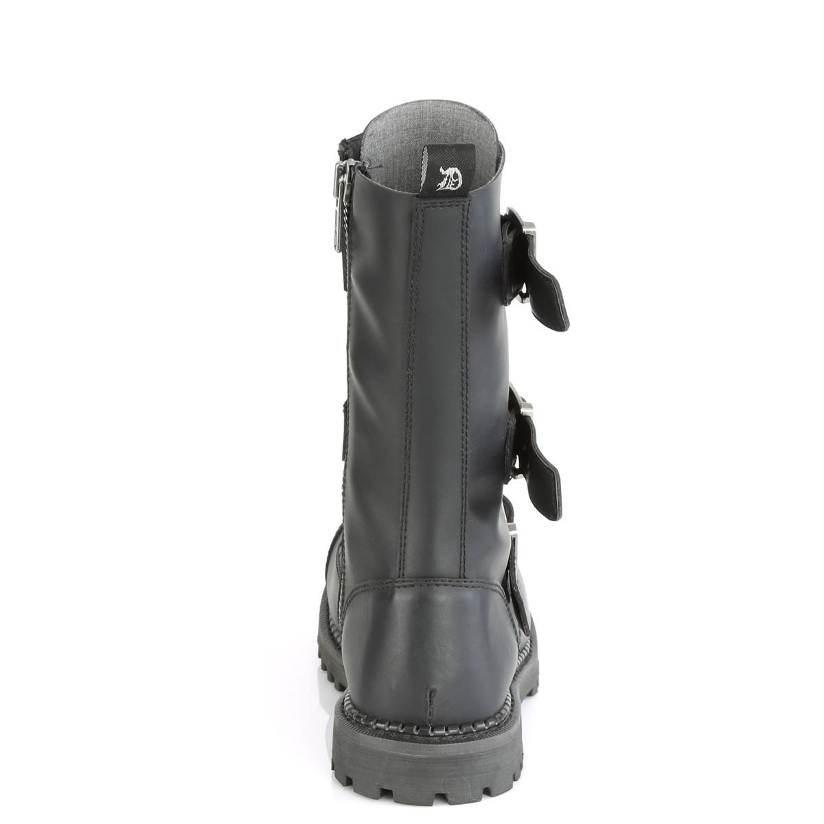 Demonia(デモニア) RIOT-12BK スティールトゥ バックルストラップ&編み上げブーツ 12アイレット コンバットブーツ ヴィーガンレザー(合皮) #Men's/Unisex◆取り寄せ