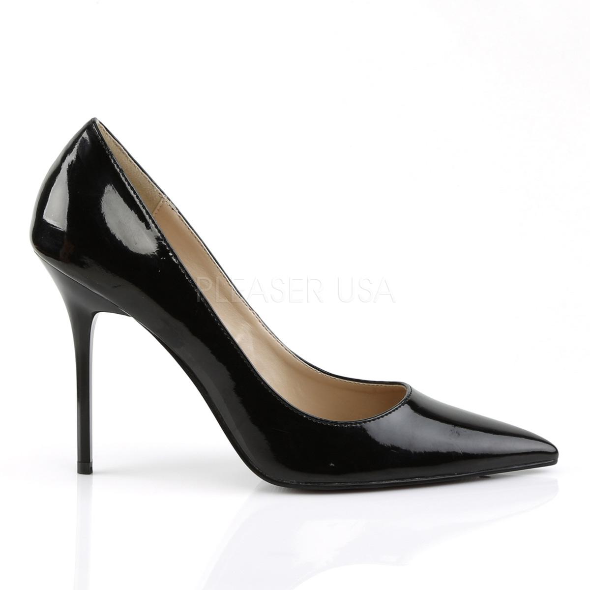 Pleaser(プリーザー) ポインテッドトゥパンプス (レディース 靴) エナメル 黒 ハイヒール ピンヒール 大きいサイズ CLASSIQUE-20-BLKPAT
