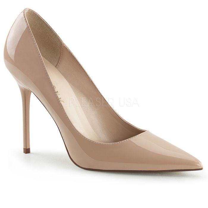 Pleaser(プリーザー) ポインテッドトゥパンプス (レディース 靴) エナメル ベージュ ハイヒール 大きいサイズ CLASSIQUE-20-NUDE