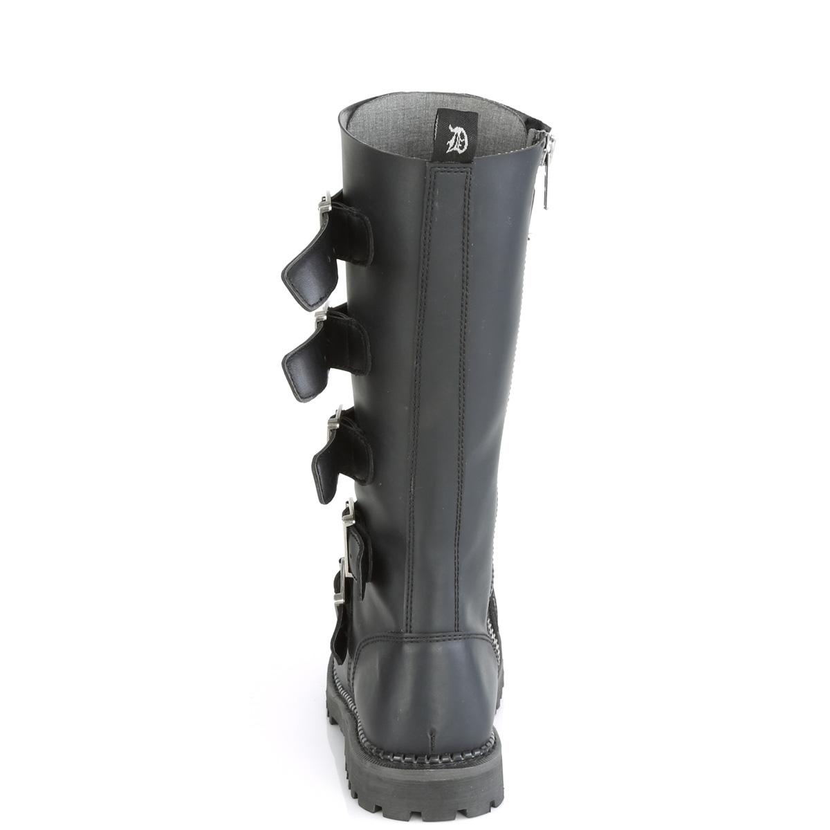 Demonia(デモニア) RIOT-18BK スティールトゥ 編み上げ&バックルストラップブーツ ヴィーガンレザー(合皮) #Men's/Unisex◆取り寄せ