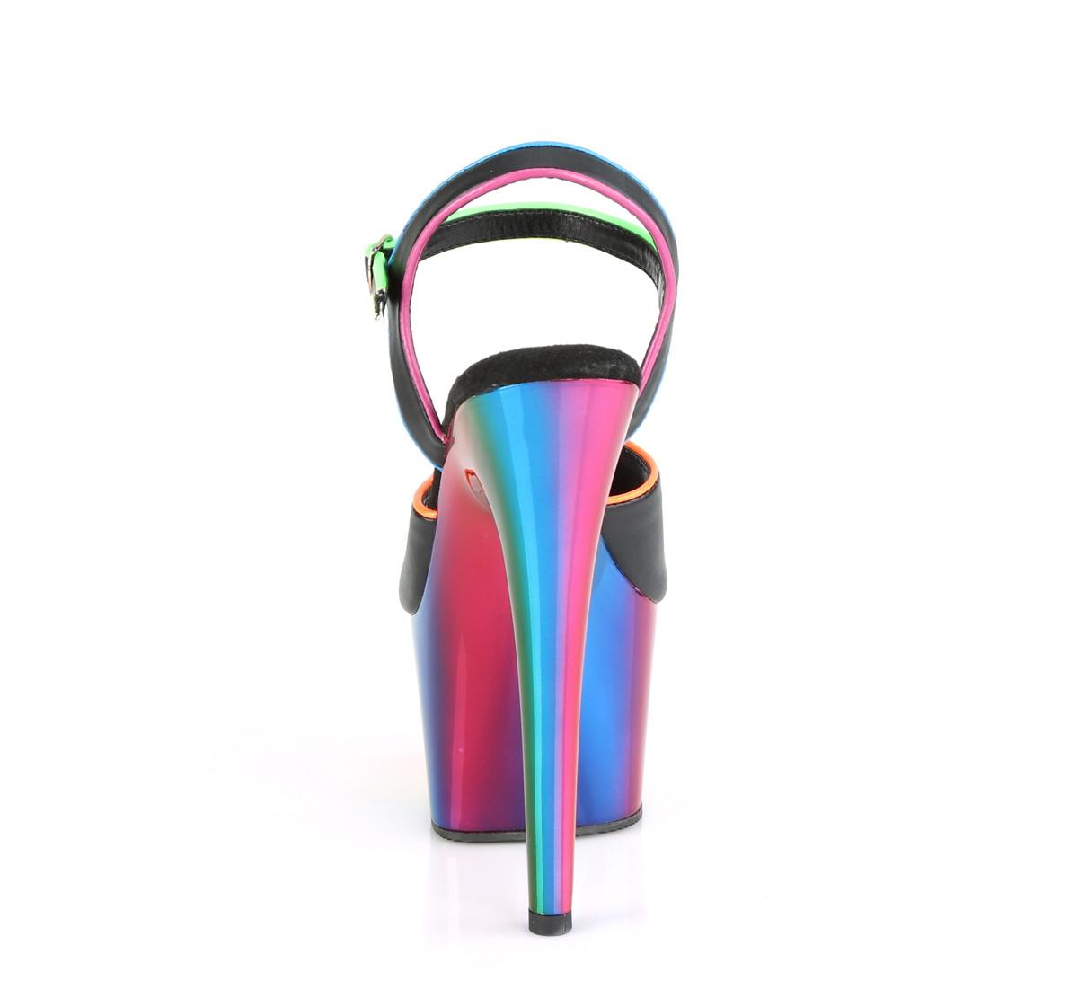 Pleaser(プリーザー) ADORE-709RC-02 レインボークロームプラットフォームサンダル 厚底 虹色◆取り寄せ