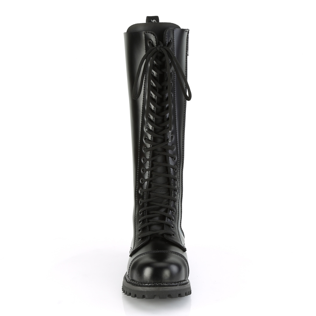 Demonia(デモニア) RIOT-20 スティールトゥ 編み上げブーツ 20アイレット コンバットブーツ 本革黒 #Men's/Unisex◆取り寄せ