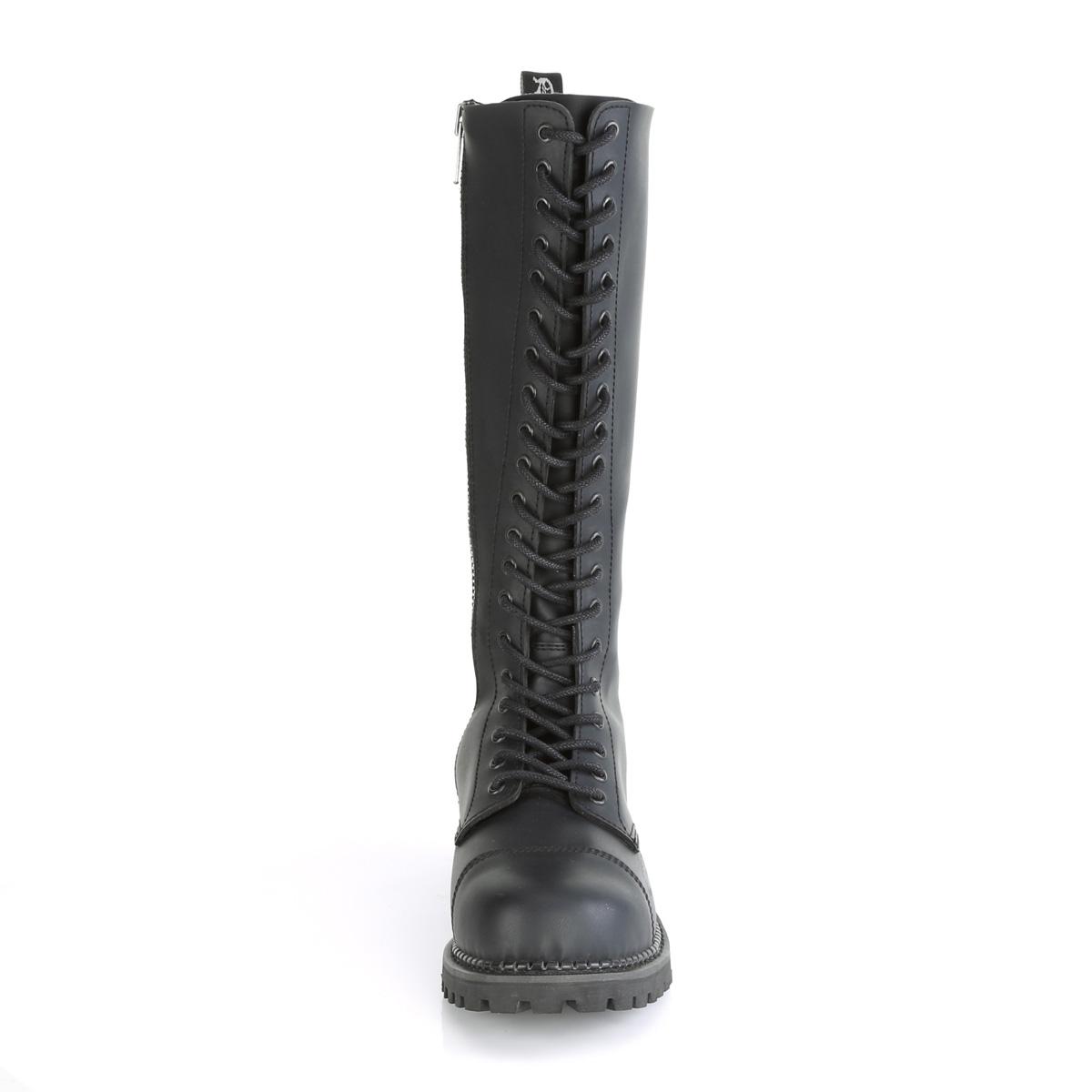 Demonia(デモニア) RIOT-20 スティールトゥ 編み上げブーツ 20アイレット コンバットブーツ ヴィーガンレザー(合皮) #Men's/Unisex◆取り寄せ
