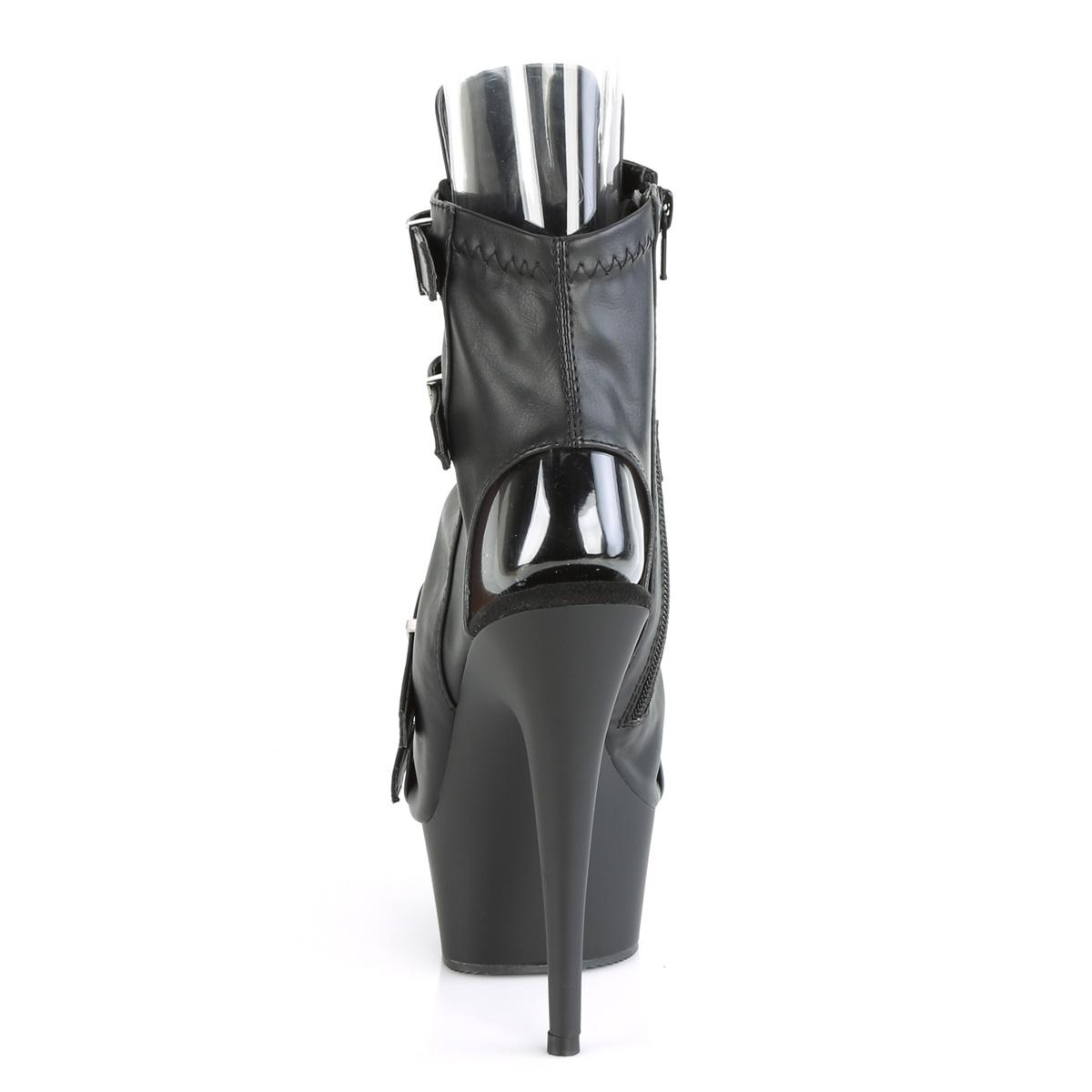 Pleaser(プリーザー) DELIGHT-600-19 バックルストラップ オープントゥ/ヒール ボンデージアンクルブーツ サイドジップ つや消し黒◆取り寄せ