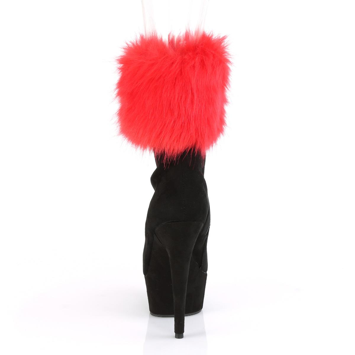 Pleaser(プリーザー) DELIGHT-1000 取替可能な4色のふさふさファーカフ付き フェイクスウェードショートブーツ 黒◆取り寄せ