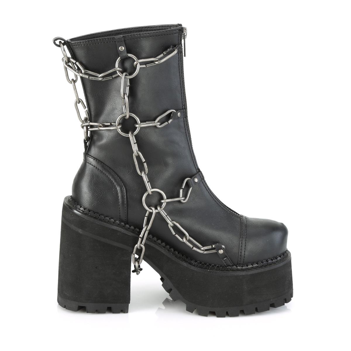 Demonia(デモニア) ASSAULT-66 メタルケージチェーン フロントジッパーアンクルブーツ つや消し黒◆取り寄せ