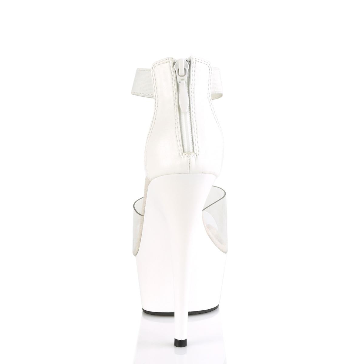 Pleaser(プリーザー) DELIGHT-624 クローズバックアンクルストラップサンダル バックジップ クリア/白◆取り寄せ