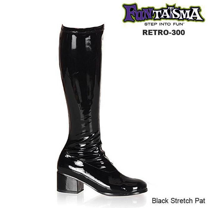 FUNTASMA(Pleaser) ひざ下丈ニーハイブーツ 低めのヒール RETRO-300 エナメル黒