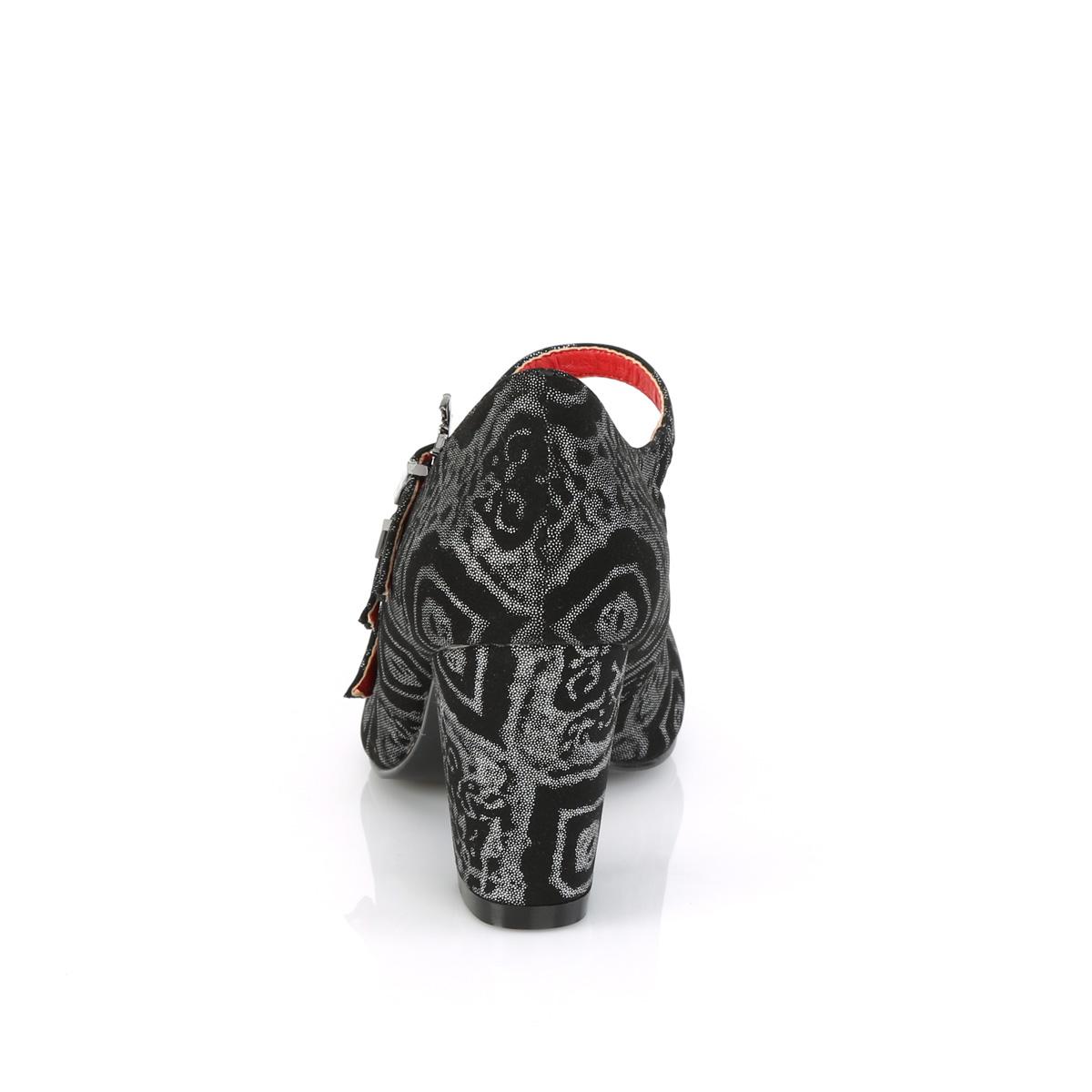Demonia(デモニア) VIVIKA-38 コウモリバックルストラップ ラウンドトゥパンプス ハロウィン ブラック/シルバー◆取り寄せ