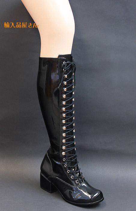 Pleaser(プリーザー) ブーツ 黒エナメル 編み上げ/レースアップ ローヒール FUNTASMA RETRO-302-BLKPAT