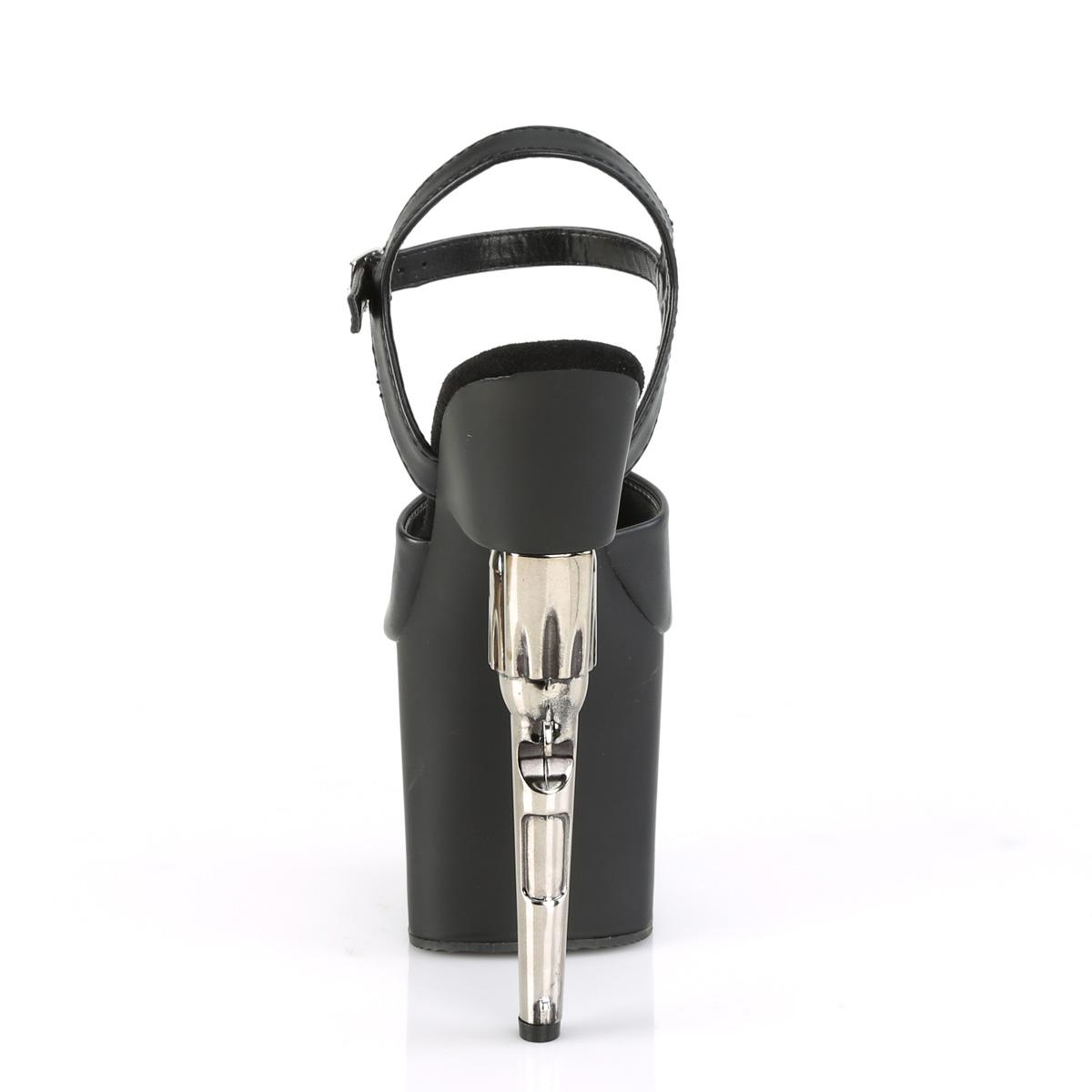 Pleaser(プリーザー) BONDGIRL-709 ボンドガール ガンヒール厚底サンダル 銃/ピストル つや消し黒◆取り寄せ