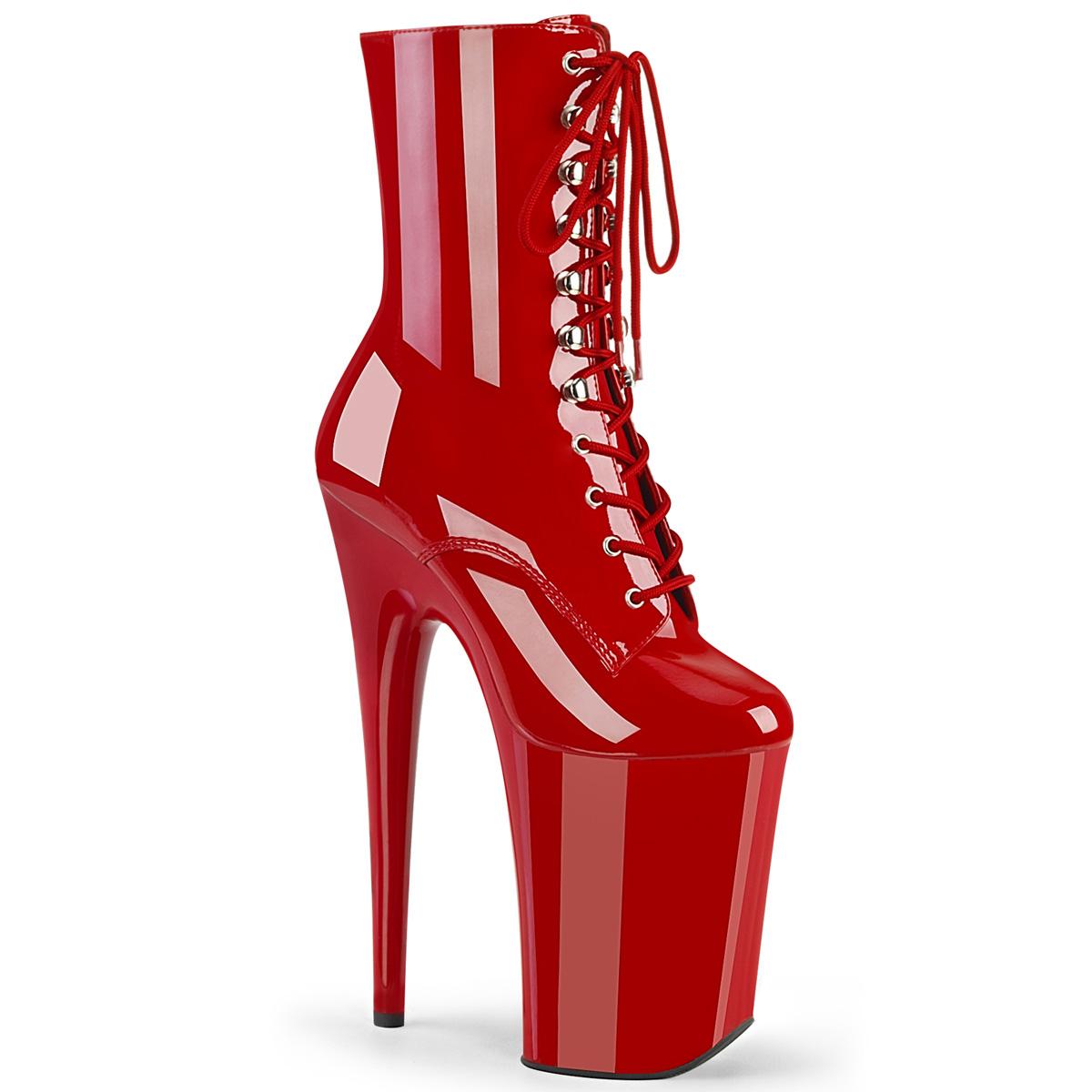 Pleaser(プリーザー) INFINITY-1020 超厚底ブーツ 9インチピンヒール レースアップ サイドZIP エナメル赤 レッド◆取り寄せ