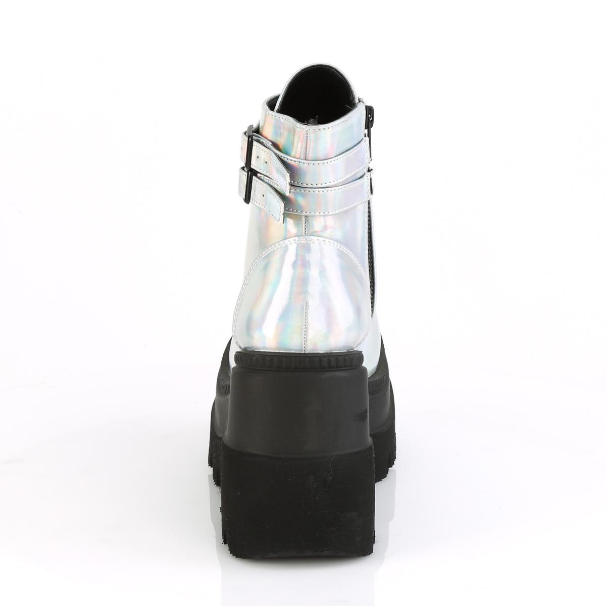 Demonia(デモニア) SHAKER-52 ウェッジソール 厚底 ショートブーツ アンクルブーツ シルバーホログラム◆取り寄せ