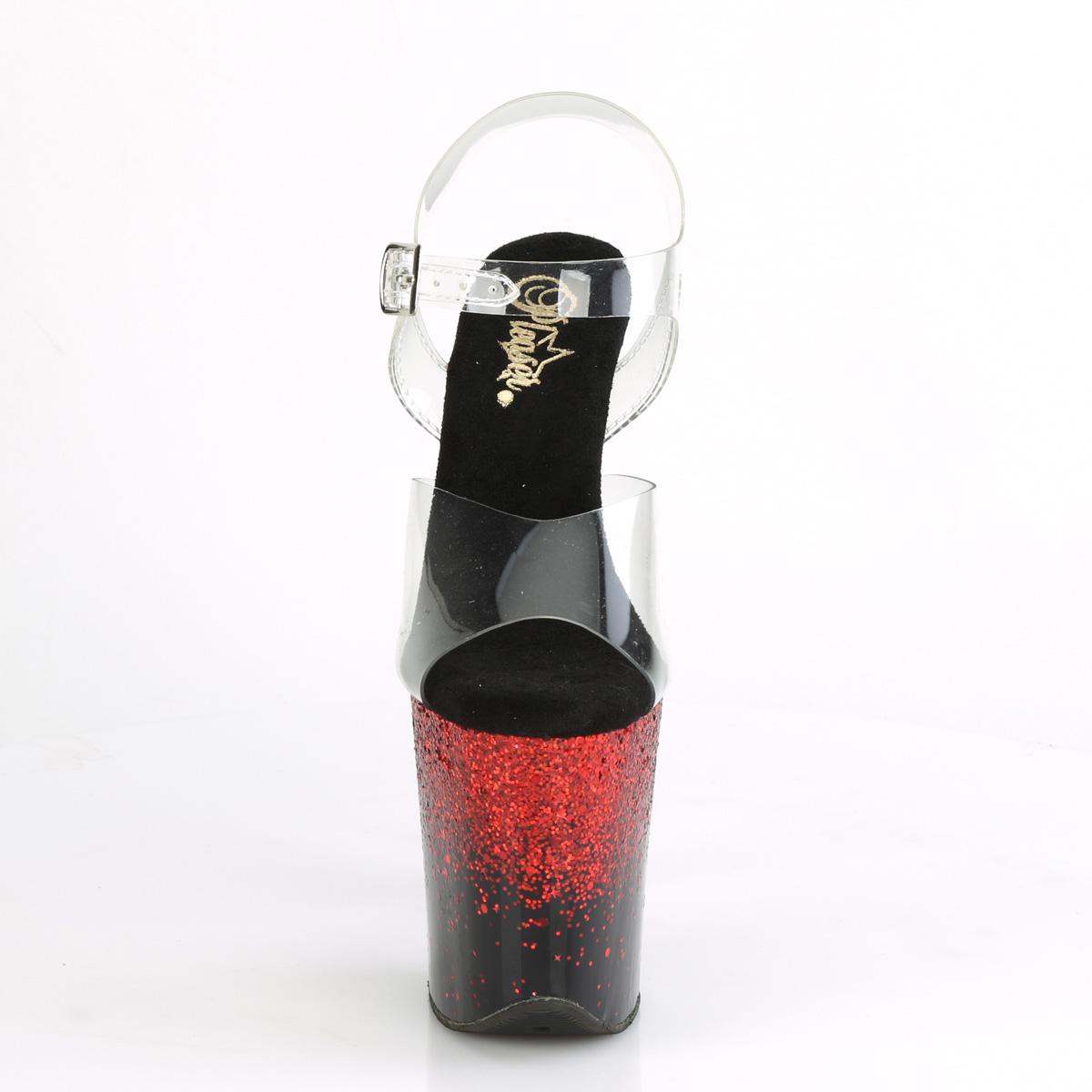 Pleaser(プリーザー) FLAMINGO-808SS フラミンゴ 超厚底サンダル 約20cmヒール クリア/黒/レッド マルチグリッター◆取り寄せ