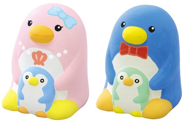 陶器の絵描きペンギン貯金箱