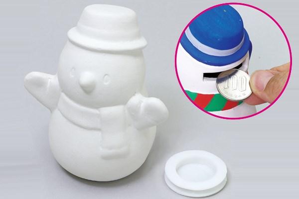 陶器の絵描きスノーマン貯金箱