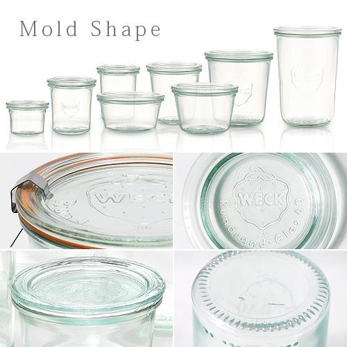ウェック ガラスキャニスター ミニ モールドシェイプ WE-080/80ml WECK MINI MOLD SHAPE 本体+フタ