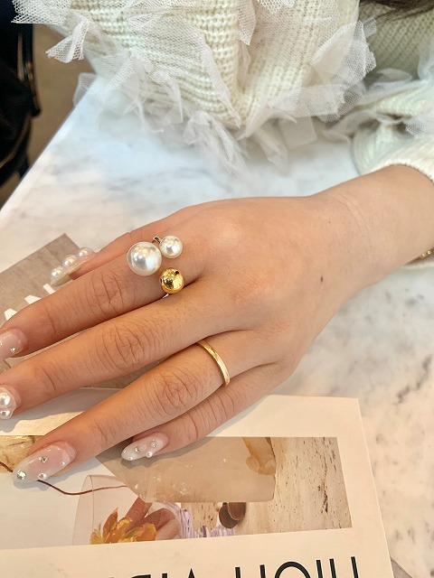 pearl×metal ring (gold)