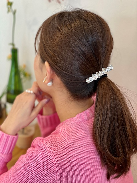 swarovski hair tie(silver)