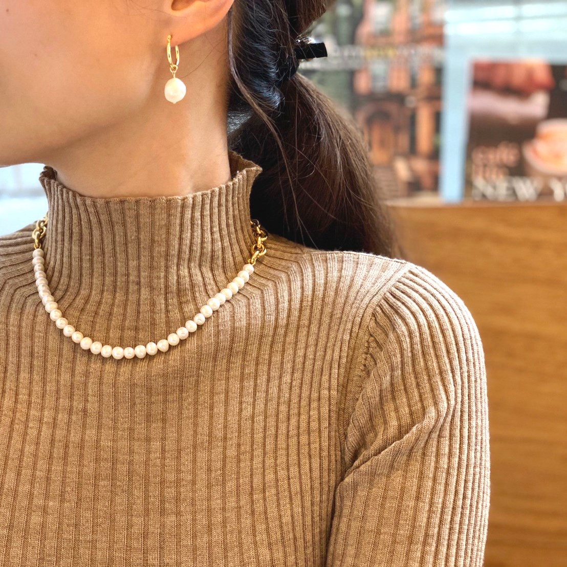 2way 淡水 pearl hoop pierce