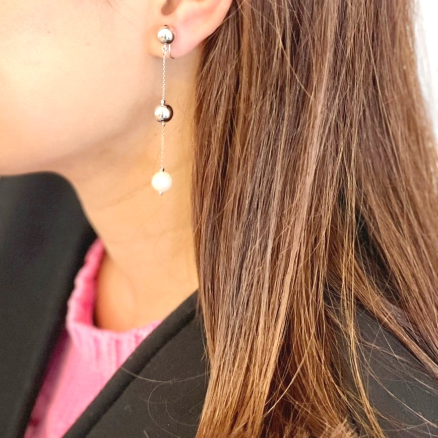 pearl×metal chain earring(silver)
