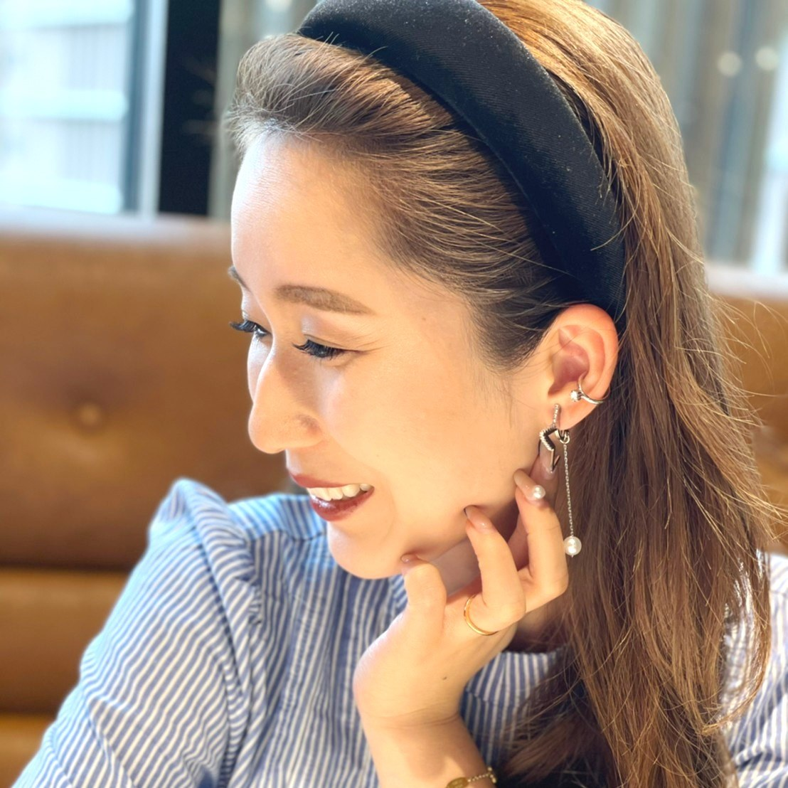 star×pearl earring(silver)