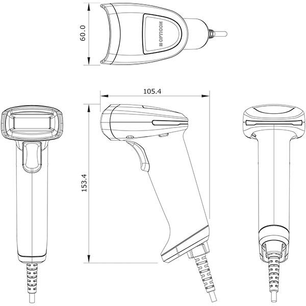 L-46X-V-WHT-USB 抗菌仕様 2次元コードスキャナ パスポートOCR・DPM読取り標準対応(ホワイト) オプトエレクトロニクス