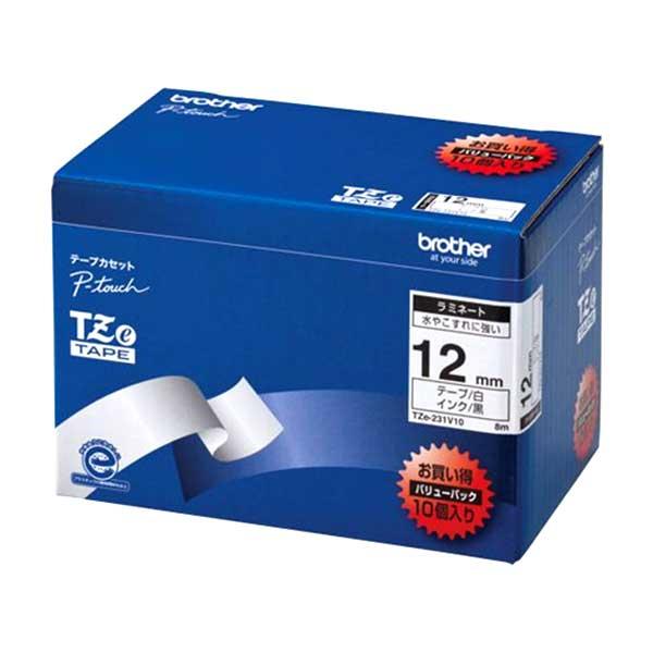 ブラザーTZe-231V10 ピータッチ用テープカートリッジ ラミネートテープ (白地/黒字) 12mm  10本パック
