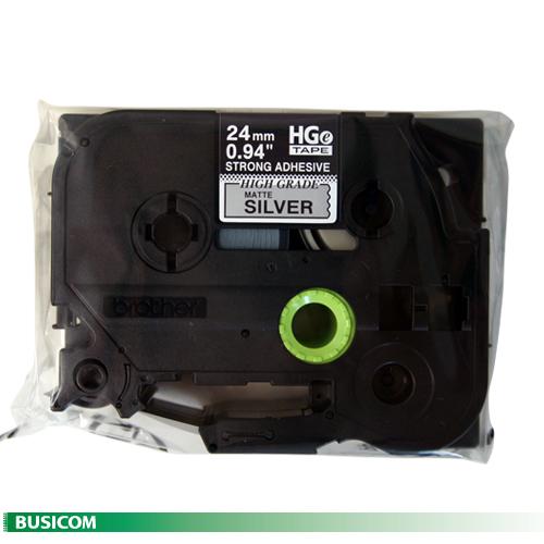 ブラザーHGe-SM951V 強粘着ラミネートテープ(銀マット地/黒字)24mm 5本パック